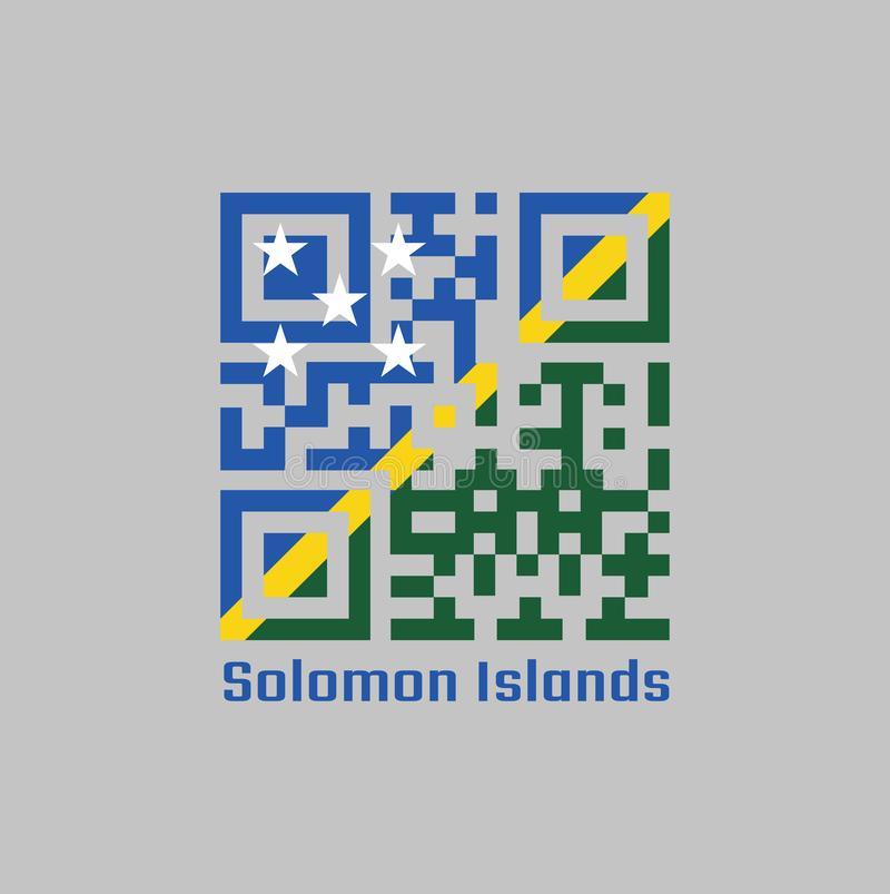QR代码组所罗门旗子的颜色,稀薄的黄色狭窄的对角条纹划分对角地与绿色,蓝色三角和星 皇族释放例证