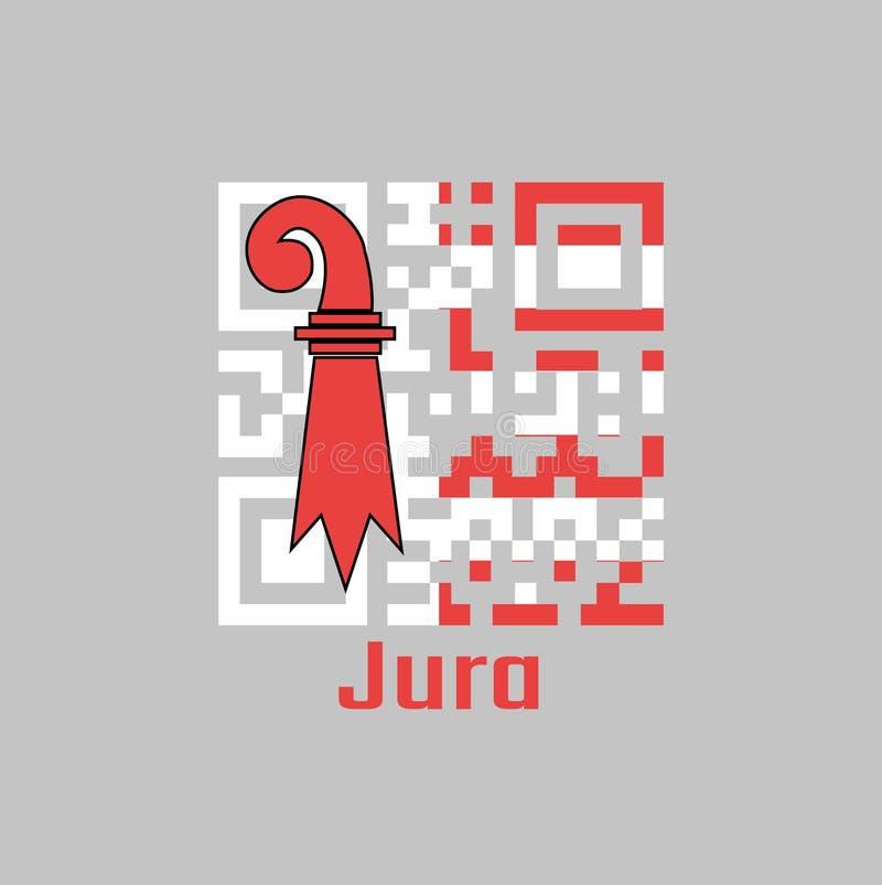 QR代码组朱拉旗子的颜色,瑞士的小行政区 向量例证