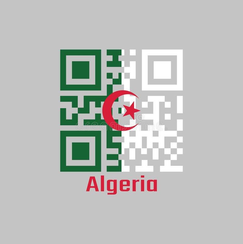 QR代码组阿尔及利亚旗子,它的颜色是包括两个相等的垂直杆,绿色和白色,充电在中心与a 皇族释放例证