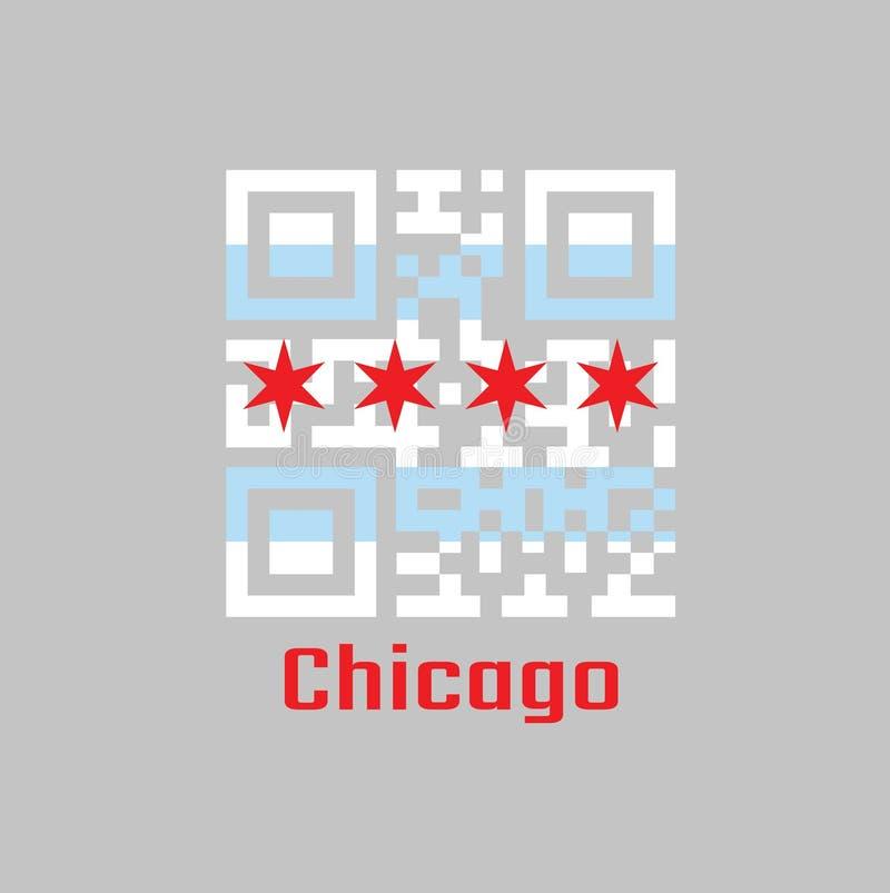 QR芝加哥旗子的代码组颜色,芝加哥是最人口众多的城市在伊利诺伊 皇族释放例证