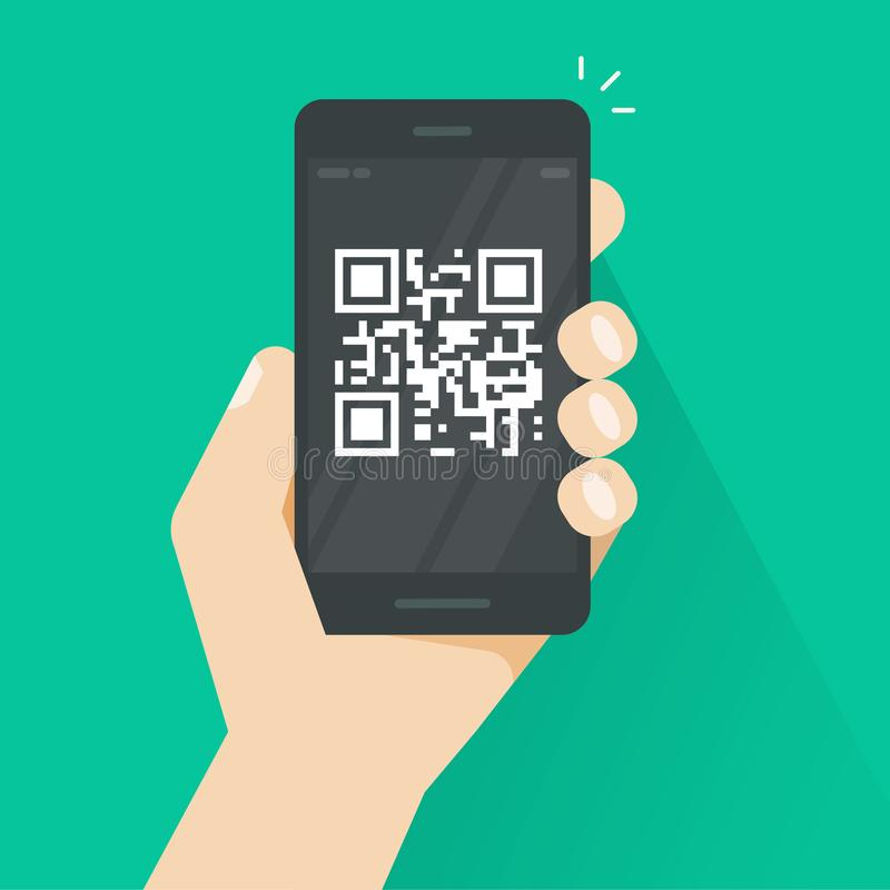 QR κώδικας στη διανυσματική απεικόνιση οθόνης smartphone, επίπεδο κινητό τηλέφωνο κινούμενων σχεδίων με την τεχνολογία κώδικα φρα ελεύθερη απεικόνιση δικαιώματος