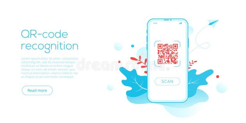 QR τεχνολογία κώδικα στη δημιουργική επίπεδη διανυσματική απεικόνιση Έννοια συστημάτων γραμμωτών κωδίκων μητρών Smartphone Ανιχνε διανυσματική απεικόνιση