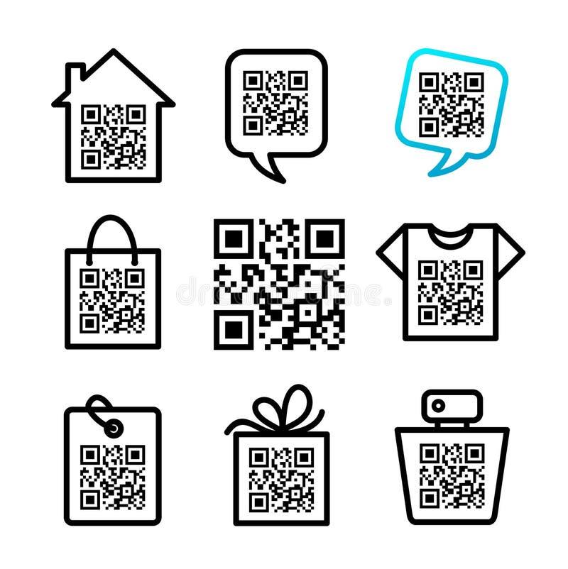 QR-код. 8 установленных значков иллюстрация штока