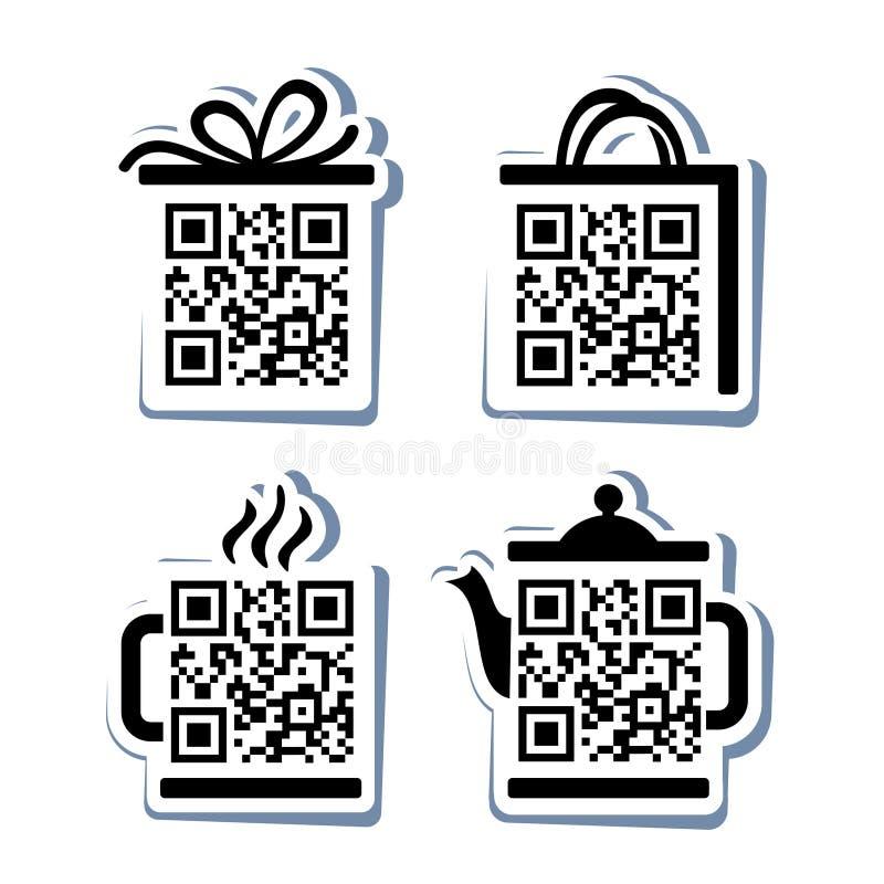 QR代码。被设置的4个象 向量例证