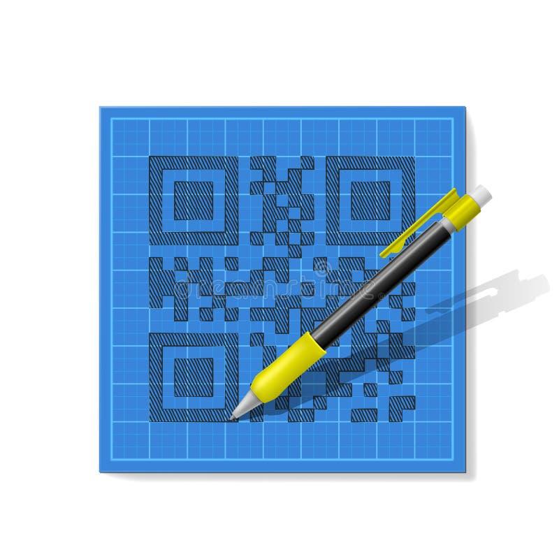 Download QR-código del bosquejo ilustración del vector. Ilustración de cuadrado - 42431632