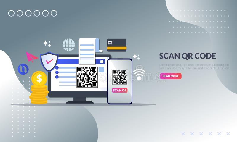 QR code concept, A mobile phone with a scanner reads the qr code on computer for online shopping and payment, flat icon,suitable vector illustration