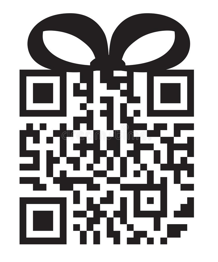 QR Code Gift Box Digital Data For Shopping Vector Illustration Isolated on White Background royalty free illustration