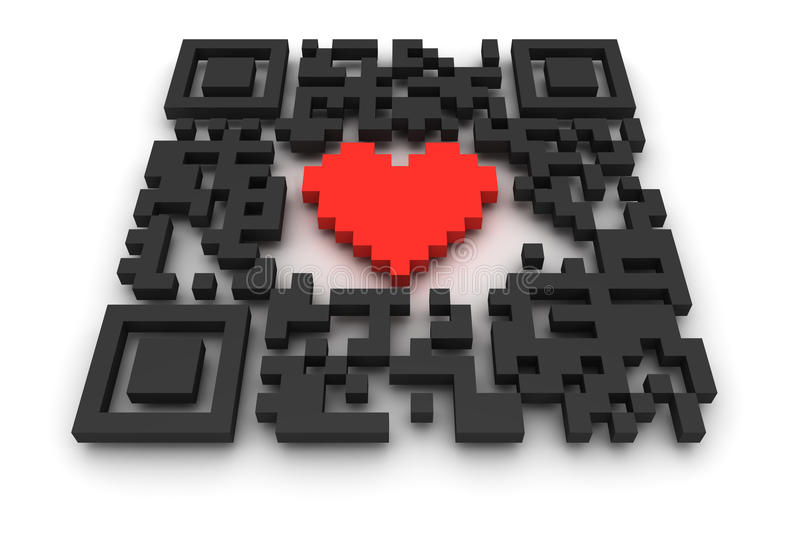 Download QR-code with heart stock illustration. Image of identification - 19982256