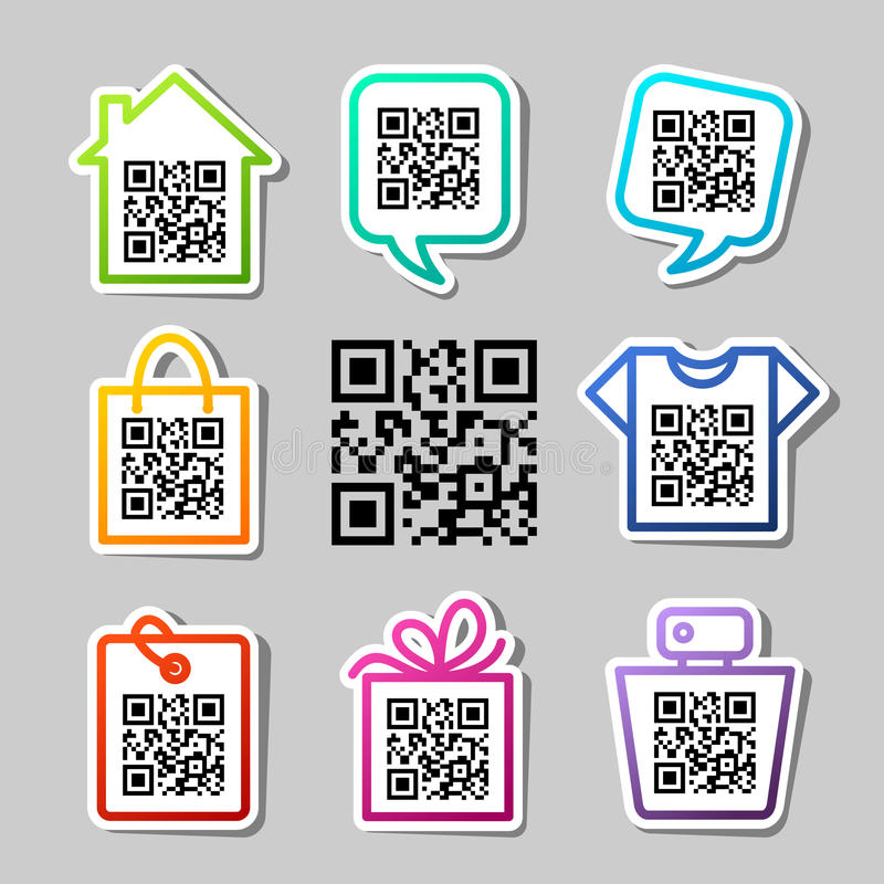 QR-Code. 8 icons set vector illustration