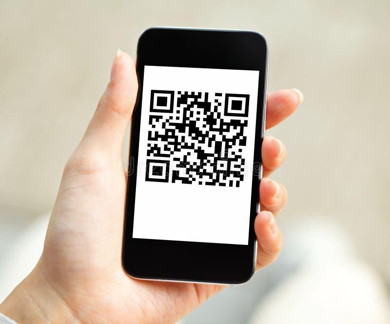 QR code inzake mobiel royalty-vrije stock foto's