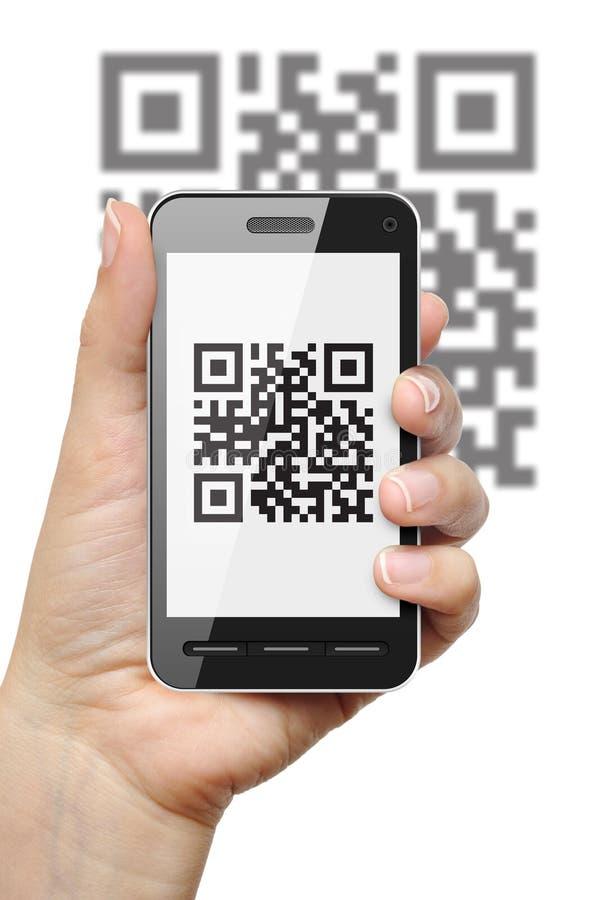 QR code inzake mobiele telefoon stock afbeeldingen
