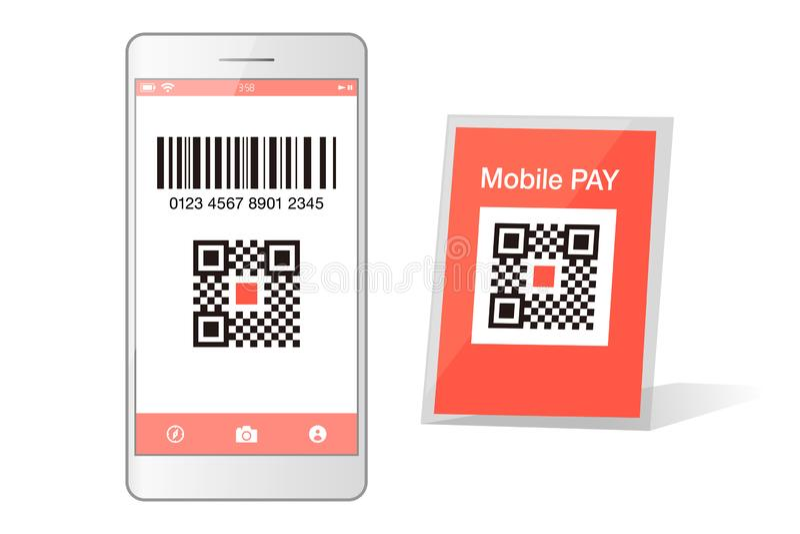 Qr code payment Smartphone app cashless technology concept vector illustration design image. digital pay without money. vector illustration