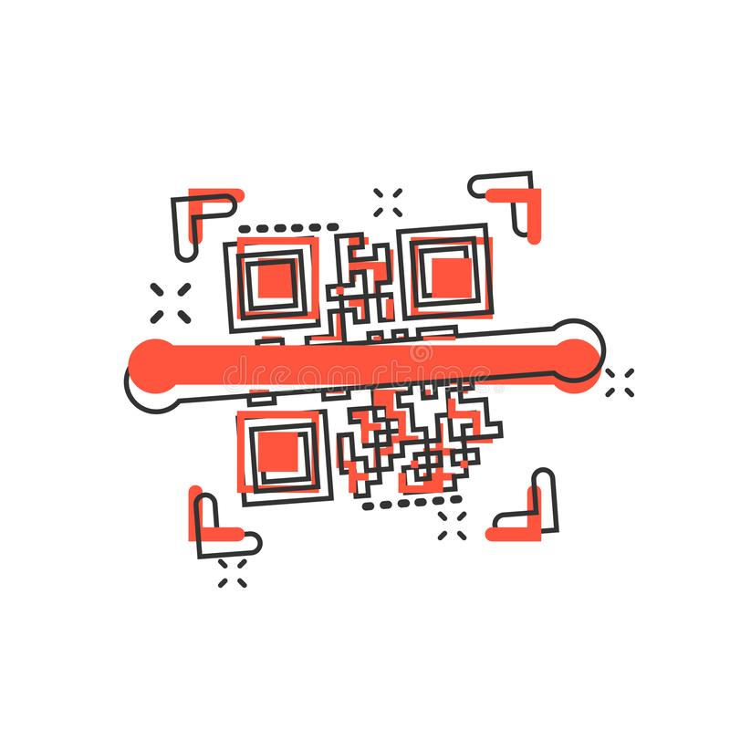 Qr code scan icon in comic style. Scanner id vector cartoon illustration on white isolated background. Barcode business concept stock illustration