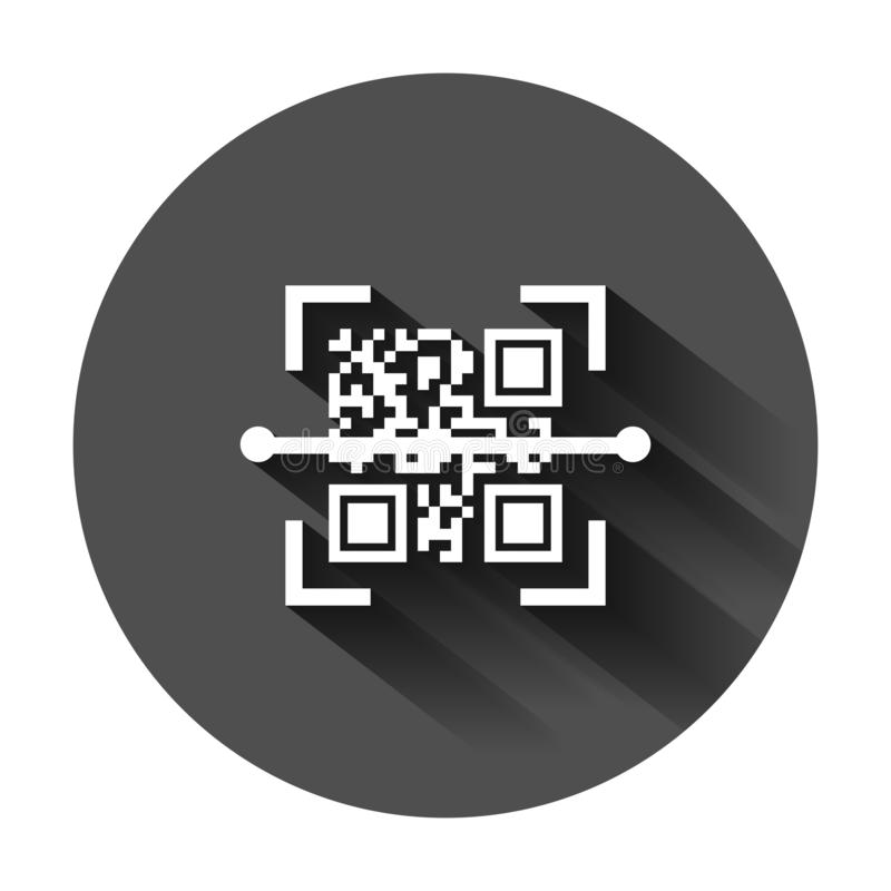 Qr code scan icon in flat style. Scanner id vector illustration on black round background with long shadow. Barcode business vector illustration