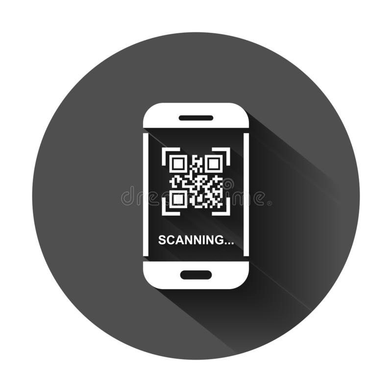 Qr code scan phone icon in flat style. Scanner in smartphone vector illustration on black round background with long shadow. stock illustration