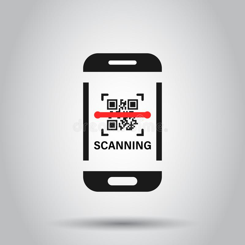 Qr code scan phone icon in flat style. Scanner in smartphone vector illustration on isolated background. Barcode business concept stock illustration