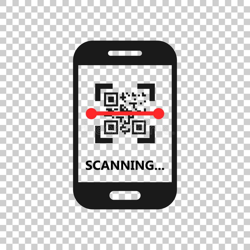 Qr code scan phone icon in transparent style. Scanner in smartphone vector illustration on isolated background. Barcode business vector illustration