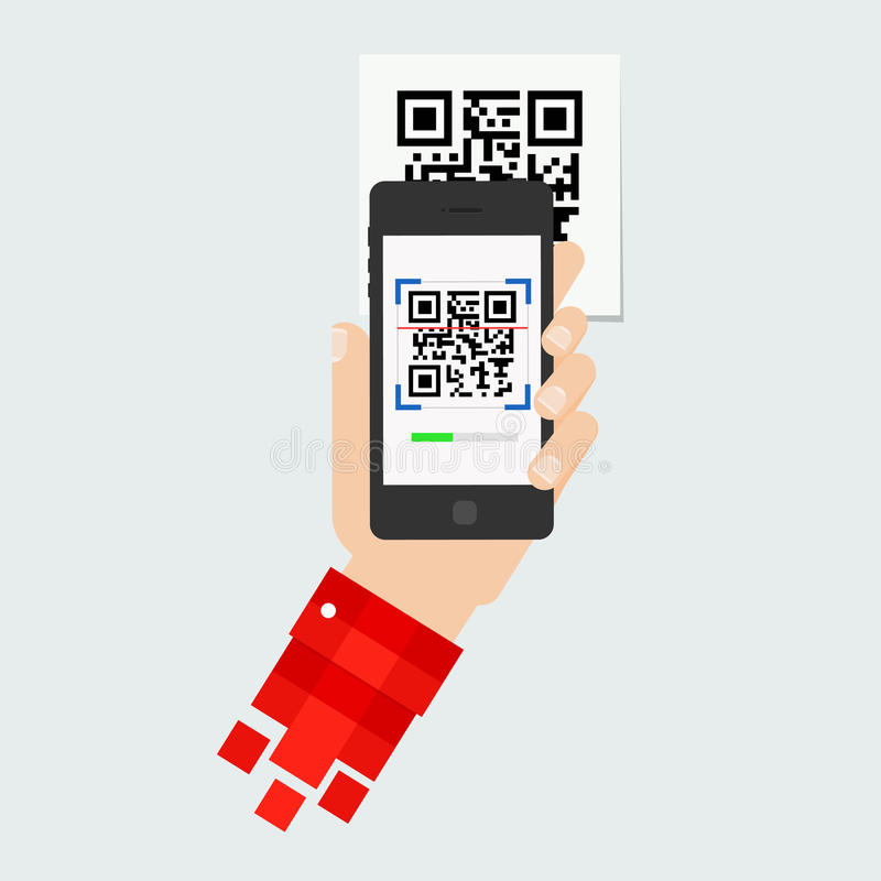 QR code scanning stock illustration