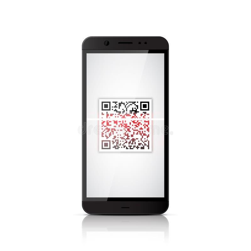 QR code scanning royalty free illustration