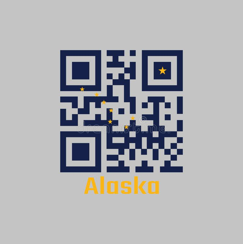 QR code set the color of Alaska flag. The states of America. Eight gold stars, in the shape of `the big dipper` on a blue. stock illustration