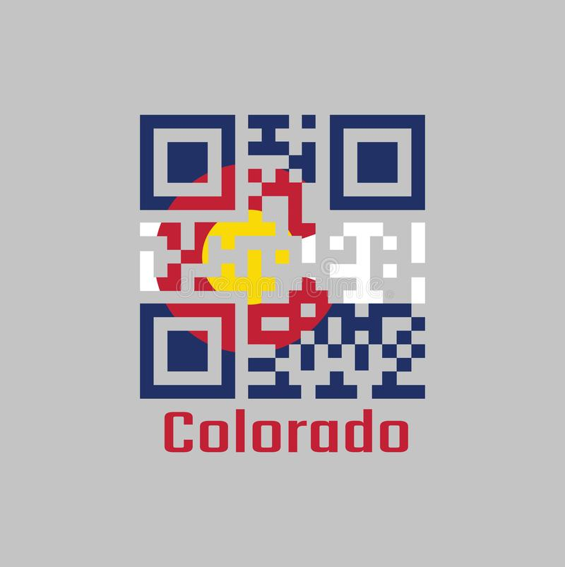 QR code set the color of Colorado flag. The states of America, Three horizontal stripes of blue white and blue. a circular red `C` stock illustration