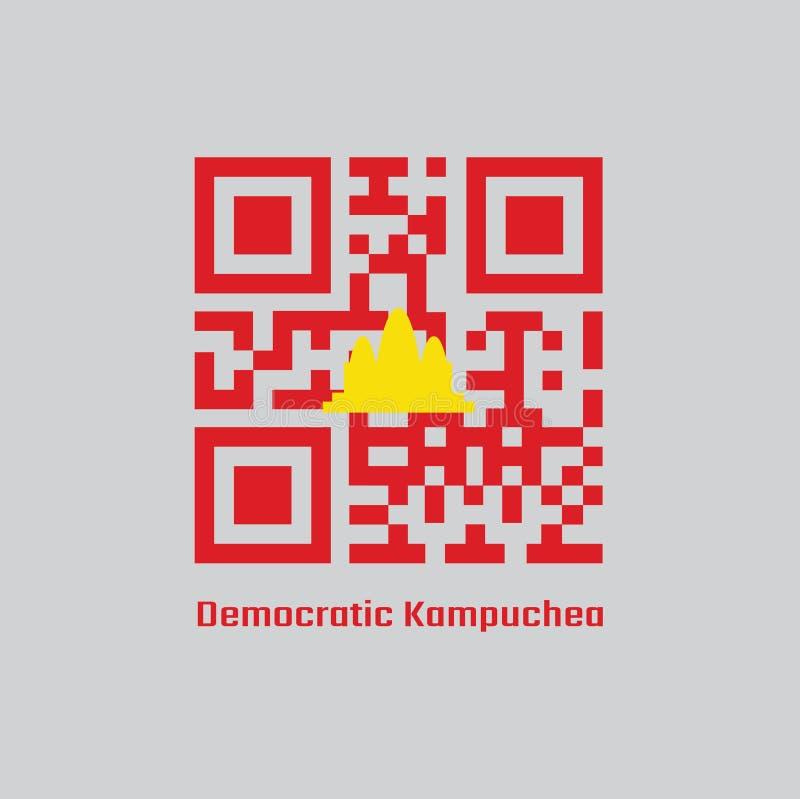 QR code set color of Democratic Kampuchea flag. vector illustration