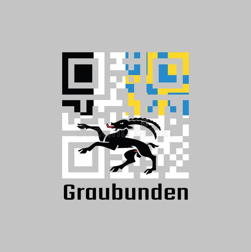 QR code set the color of graubunden flag, The canton of Switzerland. royalty free illustration