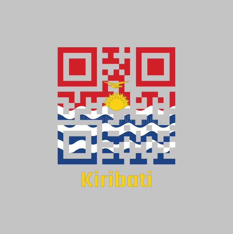 QR code set the color of Kiribati flag, red and blue with the yellow frigate bird flying over the rising sun and three white wavy. Text: Kiribati vector illustration