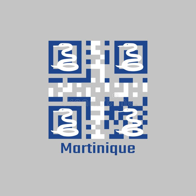 QR code set the color of Martinique flag. Four white snake on blue field and white cross in the center. With text Martinique royalty free illustration