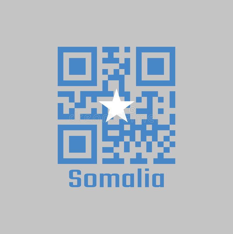 QR code set the color of Somalian flag, a single white five-pointed star centered on a light blue field. Text: Somalia stock illustration