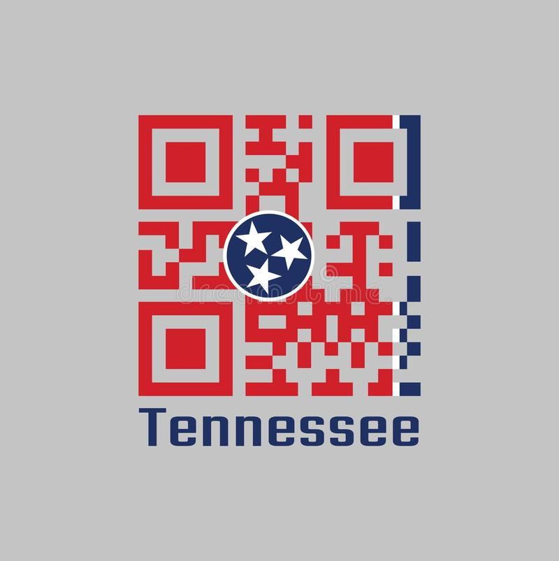 QR code set the color of Tennessee flag. A blue circle with three white five-pointed stars on a rectangular field of red, with a. Strip of white and blue on the vector illustration