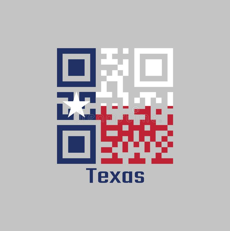 QR code set the color of Texas flag. blue containing a single centered white star. The remaining field is divided horizontally. Into a white and red bar with royalty free illustration