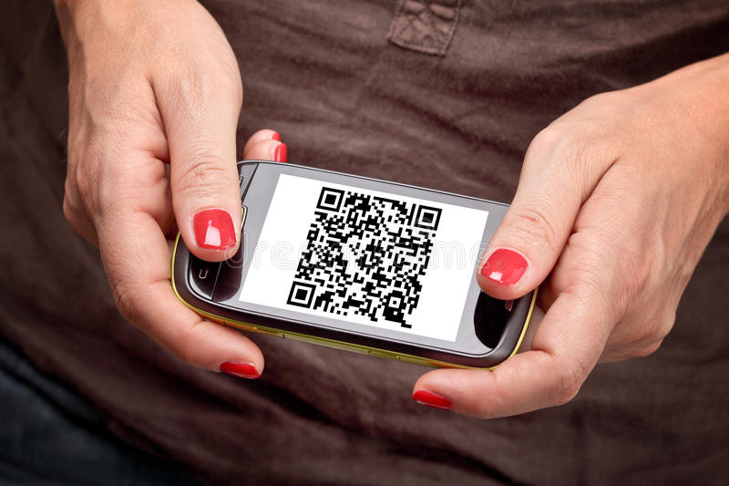 Download Qr code on smartphone stock photo. Image of display, hand - 21446370