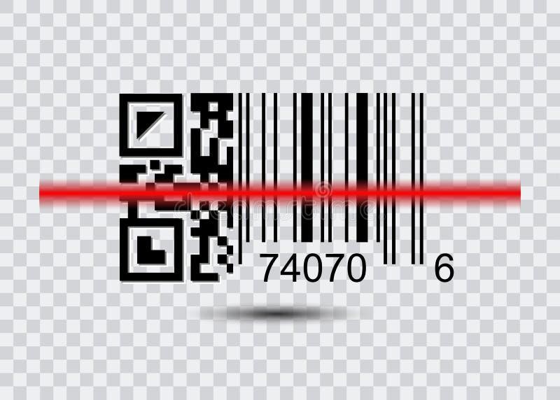 QR code voor Aftasten, Streepjescodepictogram met rode laser Modern eenvoudig vlak streepjescodeteken royalty-vrije illustratie