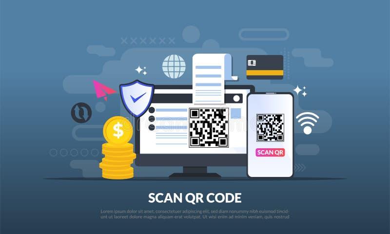 QR-Codekonzept, ein Handy mit einem Scanner liest den qr Code auf Computer für das on-line-Einkaufen und Zahlung, die flache Ikon lizenzfreies stockbild
