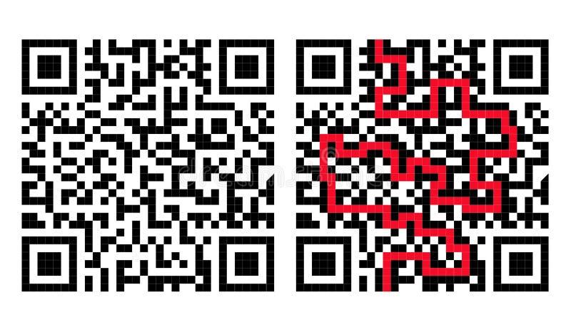 QR codelabyrint met Oplossing in Rood stock illustratie