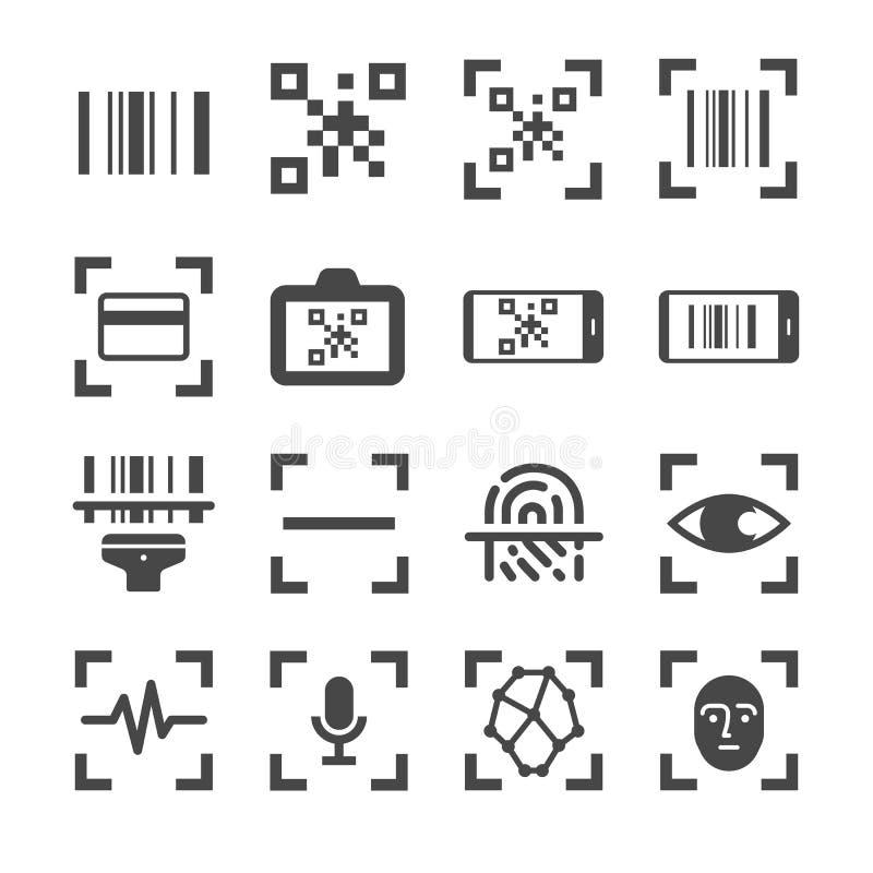 Qr-Codeleser- und Strichkodescan-Vektorlinie Ikonensatz Schloss die Ikonen als qr Code, Strichkode, Scanner, Fingerabdruckscan un vektor abbildung