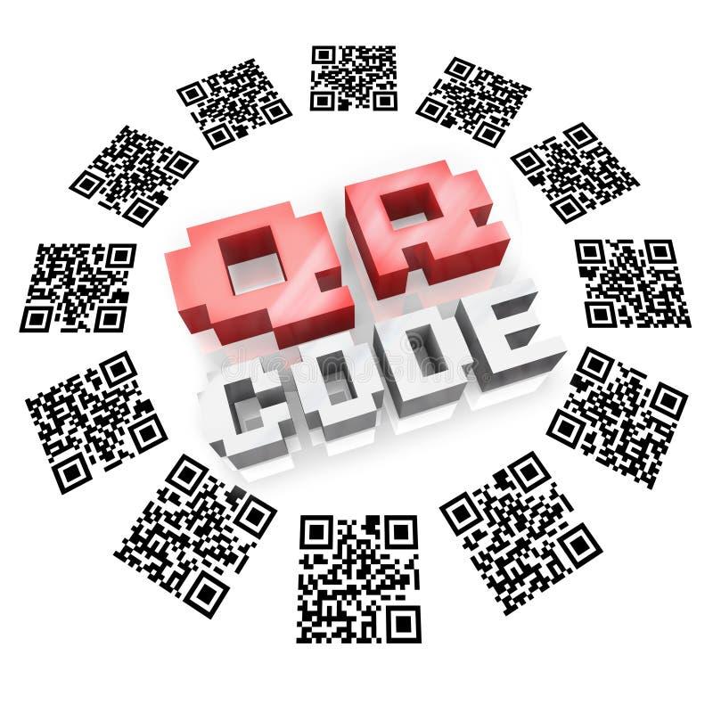 QR codes in het Aftasten van de Ring voor de Informatie van het Product stock illustratie