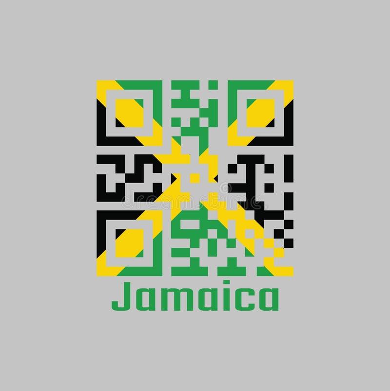 QR-Codesatz die Farbe von Jamaika-Flagge Ein Goldandreaskreuz teilt das Feld in vier Dreiecke von Grünem und von Schwarzem unter stock abbildung