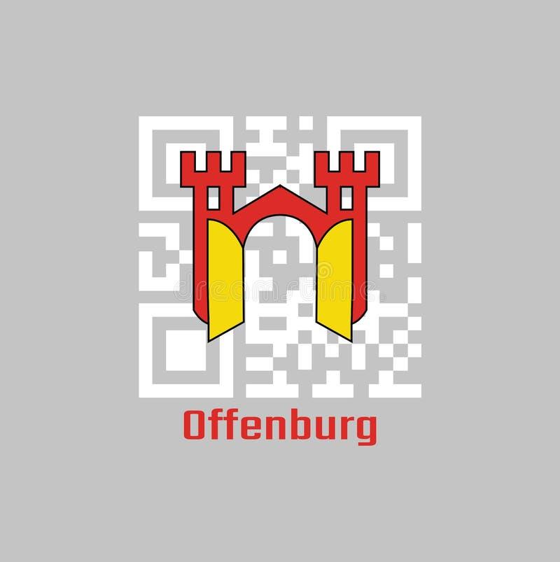 QR-Codesatz die Farbe von Offenburg-Flagge, ist es in Baden-Wurttemberg, Deutschland vektor abbildung