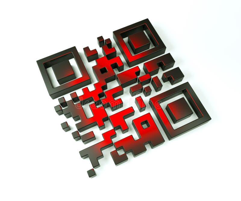 qr 3d Code in den schwarz-roten Farben vektor abbildung