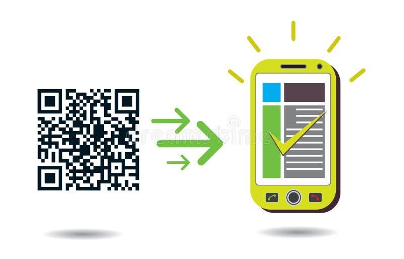 QR de verwerking van de code in cellphone royalty-vrije illustratie