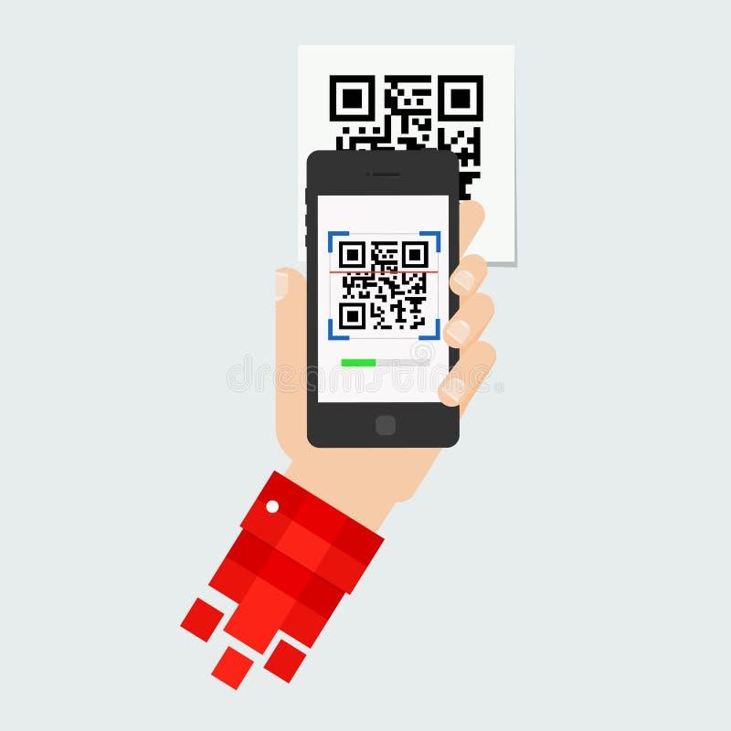 QR het Aftasten van de code stock illustratie