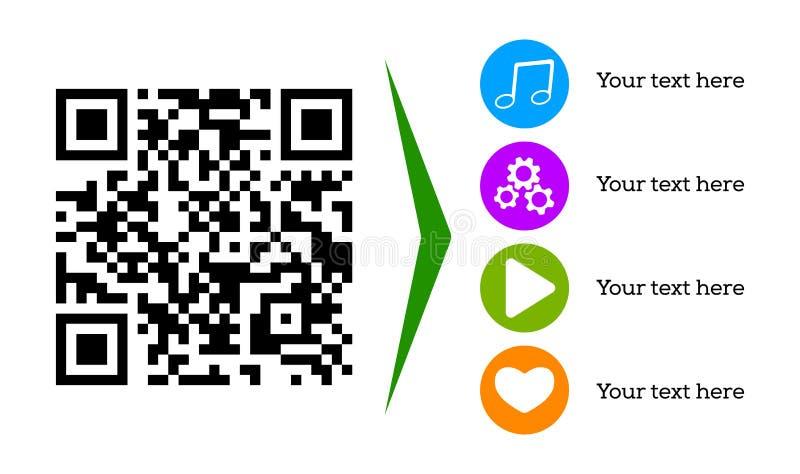QR-kod för den mobila appen som nedladdar och avläser, websiteonline-shopping, cashless betalningteknologi stock illustrationer