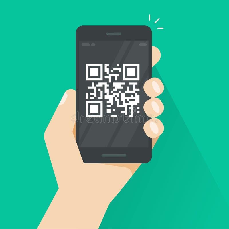 QR kod na smartphone ekranu wektorowej ilustracji, płaski kreskówka telefon komórkowy z prętowego kodu techniką, pojęcie telefon  royalty ilustracja