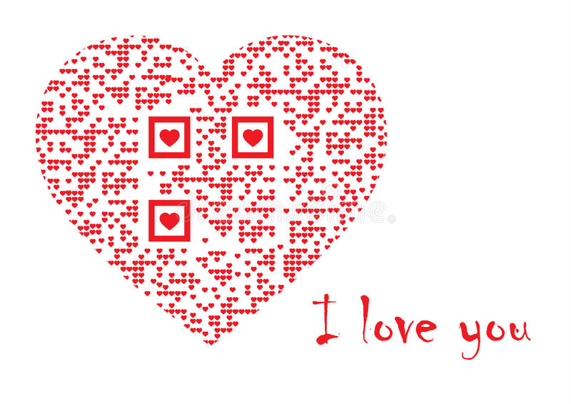 QR kod w sercu: Kocham ciebie ilustracji