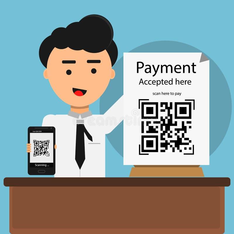 Qr kodbetalning som här accepteras med kod för qr för bildläsning för manshower mobil royaltyfria bilder