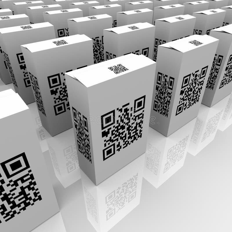 QR-koder på produktaskar för avläsande information royaltyfri illustrationer