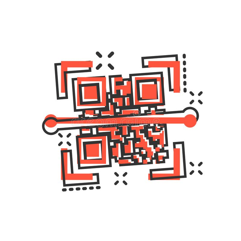 Qr kodu obrazu cyfrowego ikona w komiczka stylu Przeszukiwacza id kreskówki wektorowa ilustracja na białym odosobnionym tle Barco ilustracji
