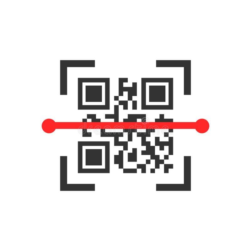 Qr kodu obrazu cyfrowego ikona w mieszkanie stylu Przeszukiwacza id wektorowa ilustracja na białym odosobnionym tle Barcode bizne ilustracji